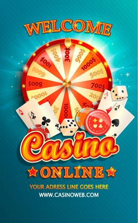 Willkommensflyer für Casino online mit Pokerkarten, Würfeln, Chips, Glücksrad und anderen Glücksspiel-Designelementen. Einladungsplakatschablone auf glänzendem Hintergrund. Vektor-Illustration. Vektorgrafik