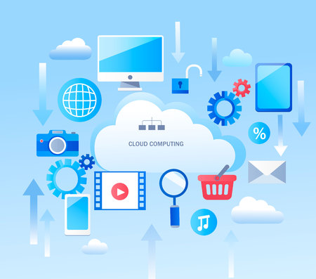 Abstract Infographic for cloud computing services and technology, data storage.Vector illustration concept for web design, banners, marketing, and graphic design.