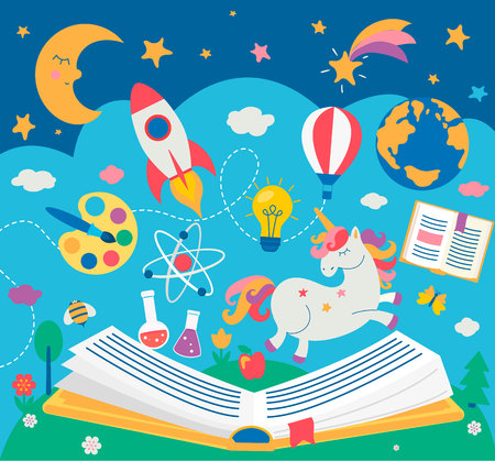 Concept of kids education while reading the book. Open book with many school supplies elements. Vector illustration in flat style.