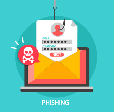 Phishing login and password on fishing hook in email envelope. Concept of Internet and network security. Hacking online scam on laptop. Flat style vector illustration. 일러스트