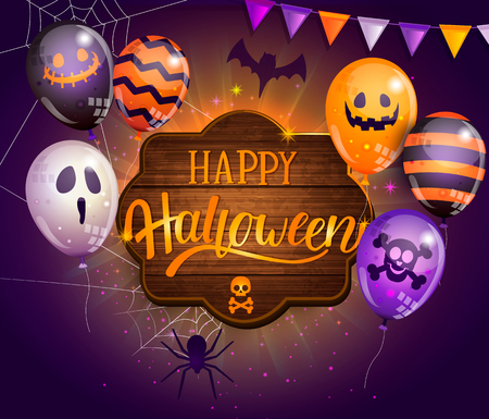 Invitation card for Happy Halloween party on wooden board with monster balloons, spider, bat and lettering. Perfect for for web, posters, placards, flyers, banners, greetings. Vector illustration. Иллюстрация