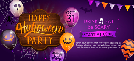 Welcome Banner for Happy Halloween party with lettering on wooden board and monster balloons. Invitation and greeting card with spider and bat for web, poster, placard, flyers. Vector illustration. Иллюстрация