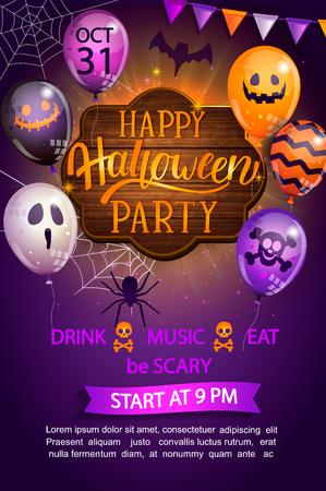 Welcome Flyer for Happy Halloween party with lettering on wooden board and monster balloons. Invitation and greeting card with spider and bat for web, poster, placard, banners. Vector illustration.