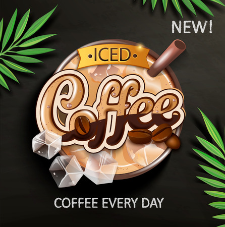 Symbol of iced coffee with iced cubes and coffee beans on blackboard with tropical leaves. Perfect for retail marketing promotion and advertising. Vector illustration. 일러스트