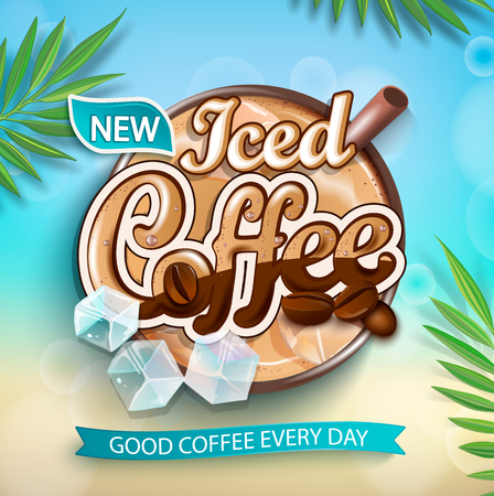 Label of iced coffee with iced cubes and coffee beans on tropical background with green leaves. Perfect for retail marketing promotion, advertising and packaging. Vector illustration. Иллюстрация