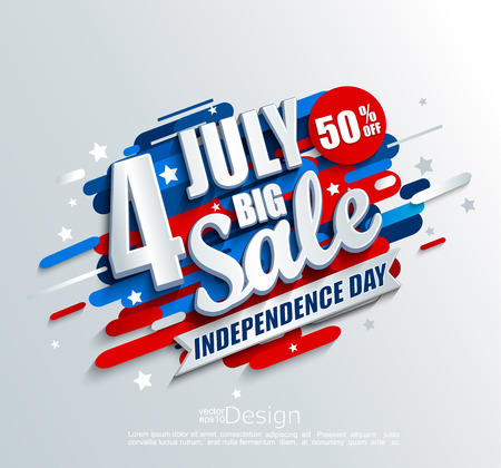 Big Sale banner for Independence day. Offer of 50 per cent discount. Template for your design, card, flyer, poster for 4th of July in USA. Vector illustration.