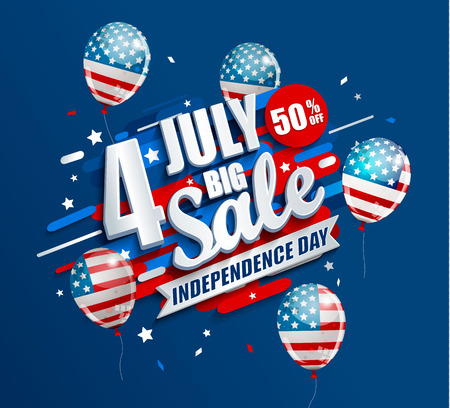 Big Sale banner with balloons for Independence day. Offer of 50 per cent discount. Template for your design, card, flyer, poster for 4th of July in USA. Vector illustration.