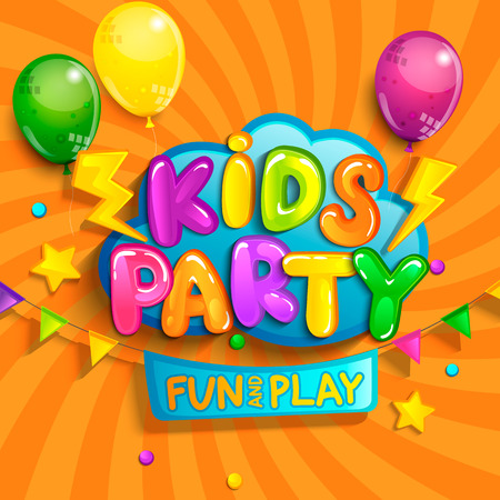 Super Banner for kids party in cartoon style with sunburst background. Place for fun and play, kids game room for birthday party. Poster for childrens playroom decoration. Vector illustration. Ilustracja