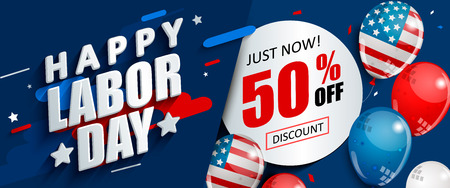 Labor day 50 percent off sale promotion, advertising banner template with American flag balloons. Perfect for marketing, lpaper.voucher discount.Vector illustration . Иллюстрация