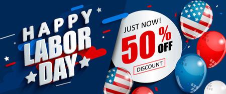 Promoción de venta del 50 por ciento del día del trabajo, plantilla de banner publicitario con globos de bandera estadounidense. Perfecto para marketing, lpaper.voucher discount.Vector ilustración.