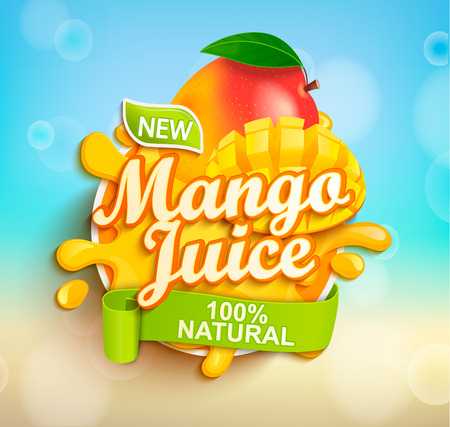 Fresh and natural Mango juice with mango slices in juice splash. Perfect for retail marketing promotion and advertising. Vector illustration. 일러스트