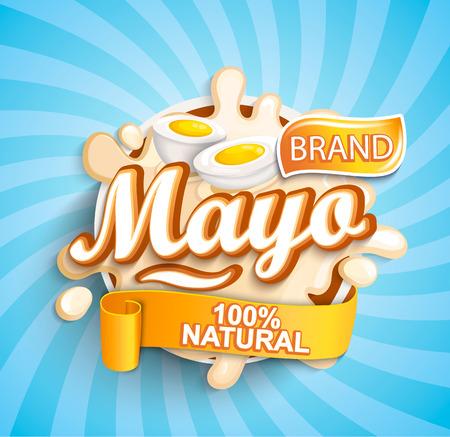 Salpicaduras de etiqueta mayonesa natural y fresca sobre fondo de rayos de sol para su marca, logotipo, plantilla, etiqueta, emblema para comestibles, tiendas, envases y publicidad. Ilustración de vector.
