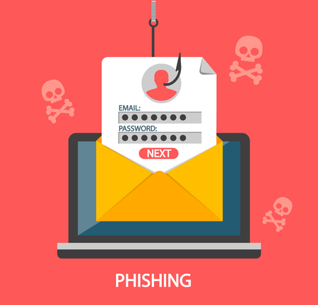 Phishing login and password on fishing hook from email envelope on red background with skulls. Concept of Internet and network security. Hacking online scam on laptop. Flat style vector illustration.