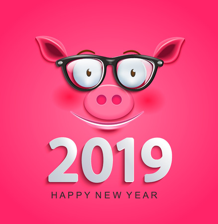 Cute greeting card for 2019 new year with smiling clever pigs face in glasses on pink background.Chinese symbol of the 2019 year. Zodiac, lunar sign of goroscope.Year of the pig. Vector illustration. 일러스트