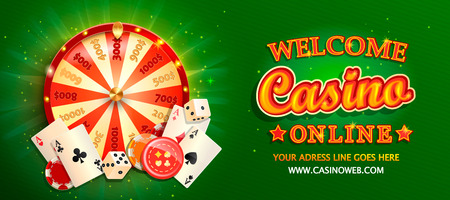 Welcome online casino banner with poker cards, playing dice, chips, fortune wheel and other gambling design elements. Invitation poster template on shiny background. Vector illustration.