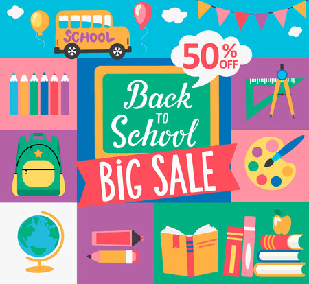 Chalkboard with hand drawn lettering Back to school, for big sale school supplies and items. Perfect for banners, flyers, posters. Vector illustration.