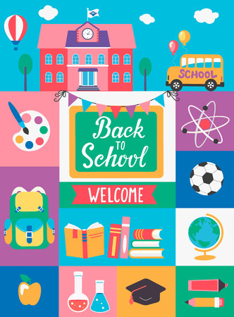 Welcome Back To School With different Flat Icons. Education Concept. Perfect for banners, flyers, posters, cards. Vector Illustration. Ilustração