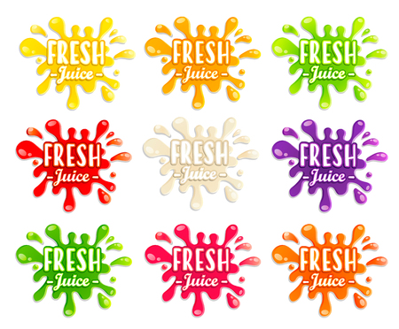 Set of different fruit and vegetables splashes. Sweet drops and blots. Perfect elements for print, template, design. Vector illustration.