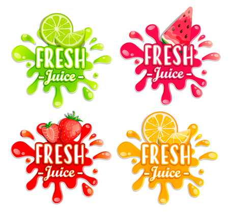 Set of different fruit splashes. Sweet drops and blots. Perfect elements for print, template, design. Vector illustration.
