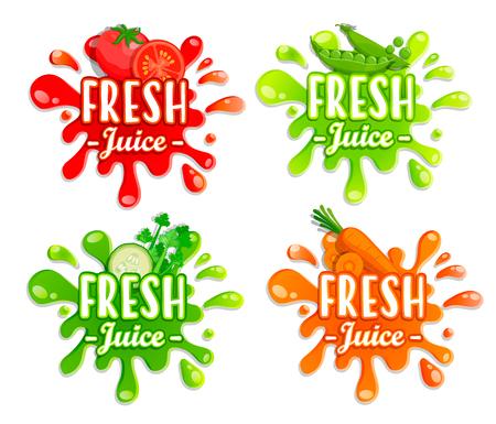 Ensemble d'éclaboussures de légumes différents. Gouttes et taches. Éléments parfaits pour l'impression, le modèle, la conception. Illustration vectorielle.