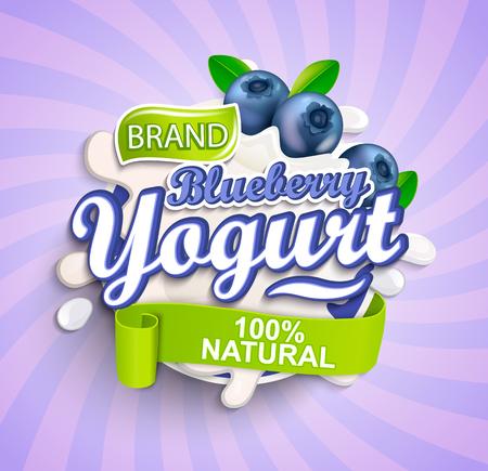 Natural and fresh Blueberry Yogurt label splash on sunburst background for your brand, logo, template, label, emblem for groceries, agriculture stores, packaging and advertising. Vector illustration.