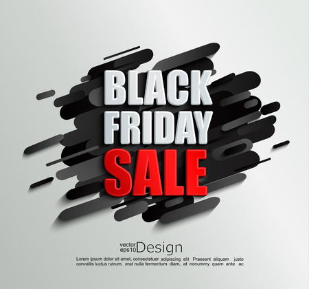 Sale banner for black friday on dynamic black background. Perfect template for flyers, discount cards, web, posters, ad, promotions, blogs and social media, marketing. Vector illustration.