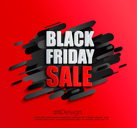 Sale banner for black friday on dynamic red background. Perfect template for flyers, discount cards, web, posters, ad, promotions, blogs and social media, marketing. Vector illustration.