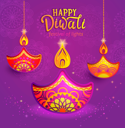 Banner for Happy Diwali, greeting card for indian festival with symbol of oil lamp and fire. Perfect for advertise, posters, flyers, backgrounds. Vector illustration. Иллюстрация