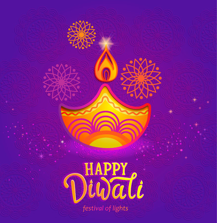 Indian festival of lights - Happy Diwali, cute banner, greeting card with symbol of oil lamp and fire. Perfect for advertise, posters, flyers, backgrounds. Vector illustration. Ilustração