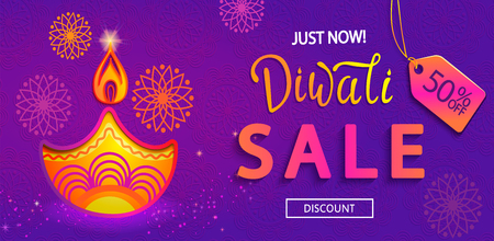 Sale Banner for Happy Diwali, just now 50 percent discount card for indian festival of lights with symbol of oil lamp and fire. Perfect for advertise, posters, flyers, backgrounds.Vector illustration.