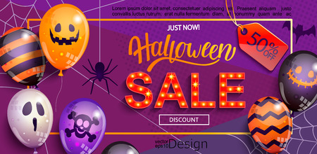 Sale Banner for Happy Halloween holiday with lettering,retro light sign and monster balloons.50 percent discount card for web, poster, flyers, ad, promotions, blogs, social media, marketing. Vector.