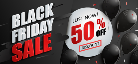 Sale banner for black friday with balloons and circle frame with 50 percent discount.Perfect template for flyers, discount cards, web, posters, ad, promotions,blogs and social media, marketing.Vector. Ilustrace