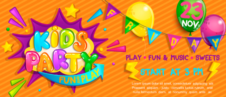Wide Super kids party Banner in cartoon style with balloons, flags and boom frame.Birthday party, Place for fun and play, kids game room. Poster for childrens playroom decoration.Vector illustration.