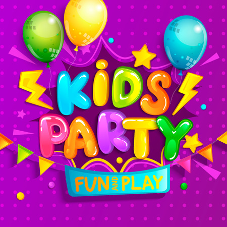 Kids party welcome banner in cartoon style with balloons, flags and boom frame.Place for fun and play, kids game room for birthday party. Poster for childrens playroom decoration.Vector illustration. Иллюстрация