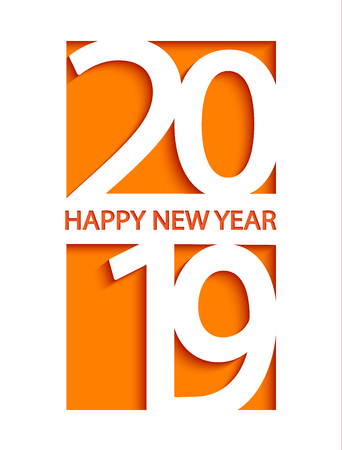 2019 Happy New Year creative card design for greetings, flyers, invitation, posters, brochure, banners and calendar, web and other design. Vector illustration. Stock Vector - 110169015
