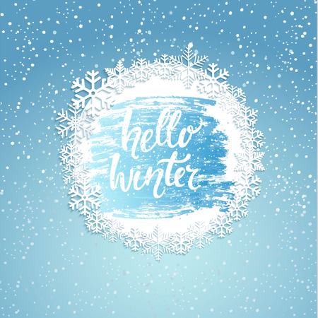 Hello Winter greeting card with vintage frame from snowflakes. Greeting winter with new year and christmas holidays, hand drawn lettering. Vector illustration.