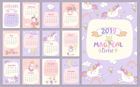 2019 Magical time Calendar with unicorns. Different characters for every month. Holiday event planner. Week Starts Sunday. Vector illustration.