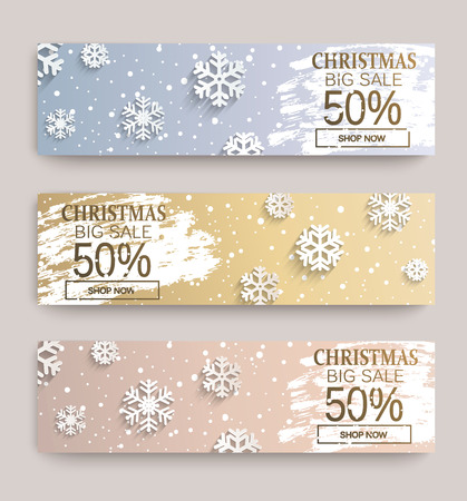 Christmas big sale banners with snowflakes on frosty design template. 50 percent Discount cards for web, poster, flyers, ad, promotions, blogs, social media, marketing. Vector illustration.