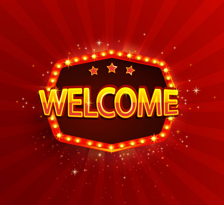 Welcome - shining retro light frame on red sunburst background. Banner with glowing lamps. Vector illustration in vintage style. Greetings to cinema, hotel, casino, gambling, new city for travelers. 일러스트