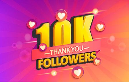 Dziękuję banerowi 10 000 obserwujących. Dzięki karty gratulacyjnej zwolenników. Ilustracja wektorowa dla sieci społecznościowych. Użytkownik sieci lub bloger świętuje i tweetuje dużą liczbę subskrybentów. Ilustracje wektorowe