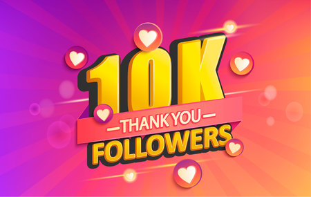 Thank you 10K followers banner. Thanks followers congratulation card. Vector illustration for Social Networks. Web user or blogger celebrates and tweets a large number of subscribers. Banque d'images - 113574798
