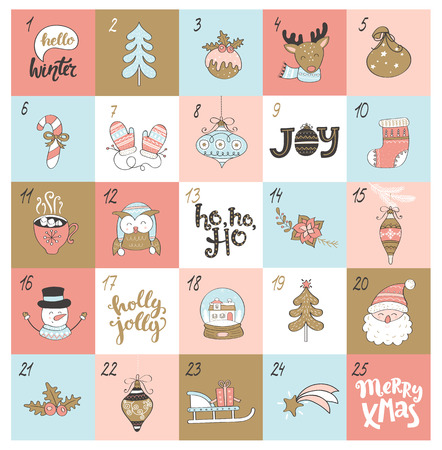 Christmas advent calendar with different christmas symbols. Raster copy.