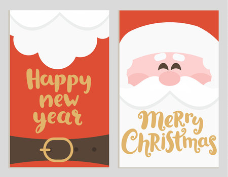 Santas message banners for happy New Year and Merry Christmas. Cards with handrawn lettering. Raster copy.