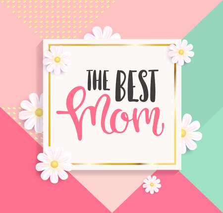 The best mom greeting card on colourful geometric background. Raster copy. Фото со стока