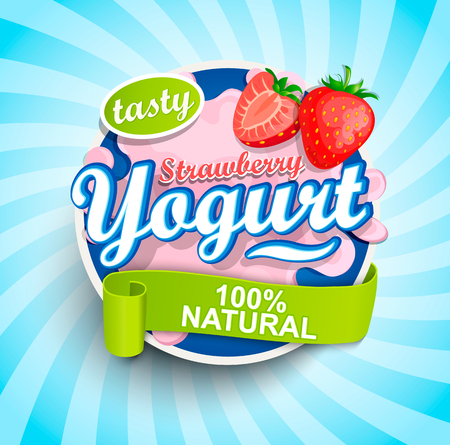 Fresh and Natural Strawberry Yogurt label splash with ribbon on blue sunburst background for logo, template, label, emblem for groceries, stores, packaging and advertising. Raster copy.