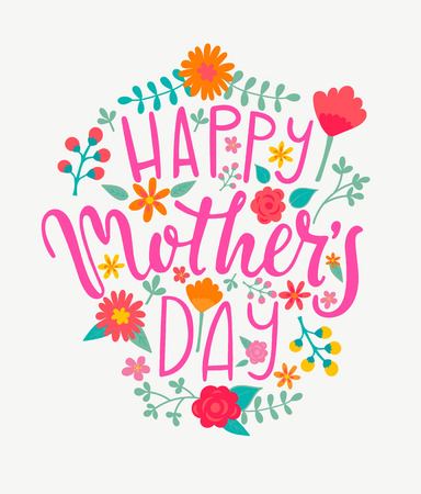 Happy Mothers day card with handdrawn lettering. Raster copy.