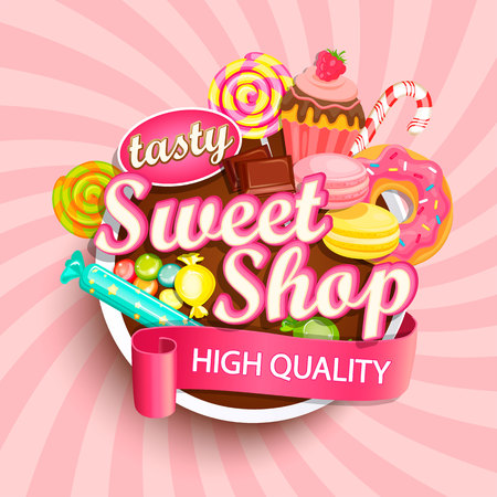 Sweet shop logo label or emblem for your design. Raster copy. Stock Photo