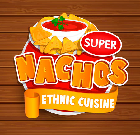 Nachos ethnic cuisine logo and food label or sticker. Concept of mexican food, traditional product design for shops, markets.Raster copy.
