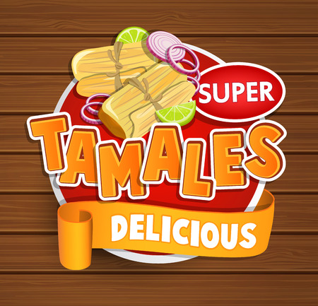 Tamales delicious logo and food label or sticker. Concept of mexican food, traditional product design for shops, markets. Raster copy. 免版税图像