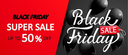 Super sale card for black friday. Discount banner with shiny balloons for shops, markets and other sellers. Raster copy.